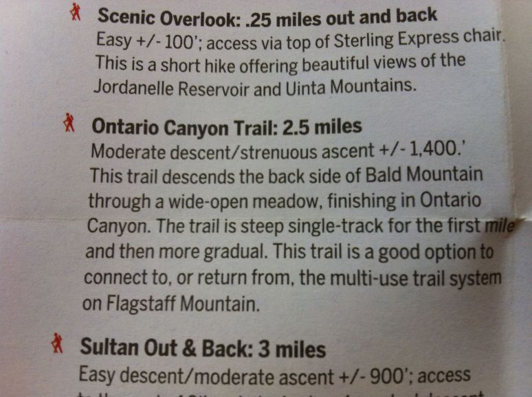 Brochure text for the Ontario Canyon Trail at Deer Valley, Utah