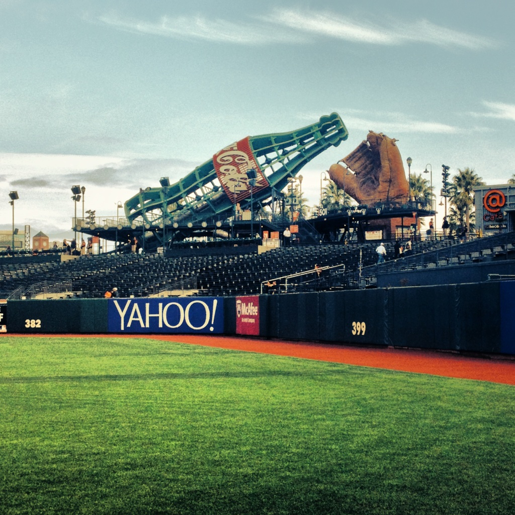 The coke bottle and old-timey glove in center field at AT&T Park