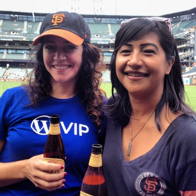 @sararosso and @cherilucas in Triples Alley, pre-game
